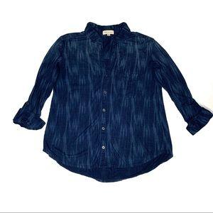 Anthropologie Cloth & Stone Blue Plaid Stripe Top